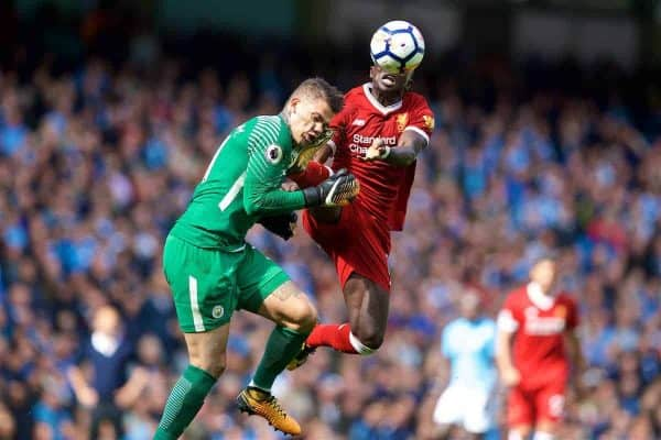 MANCHESTER, ENGLAND - Saturday, September 9, 2017: Liverpool's Sadio Mane challenges Manchester City's goalkeeper Ederson Moraes, and is shown a red card and sent off, during the FA Premier League match between Manchester City and Liverpool at the City of Manchester Stadium. (Pic by David Rawcliffe/Propaganda)