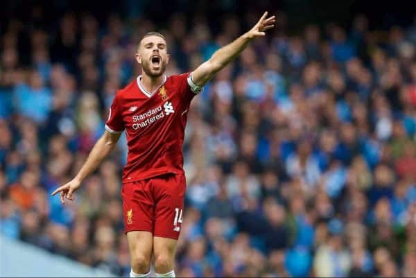 MANCHESTER, ENGLAND - Saturday, September 9, 2017: Liverpool's captain Jordan Henderson during the FA Premier League match between Manchester City and Liverpool at the City of Manchester Stadium. (Pic by David Rawcliffe/Propaganda)