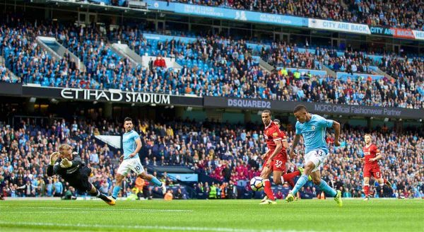 MANCHESTER, ENGLAND - Saturday, September 9, 2017: Manchester City's Gabriel Jesus scores the third goal during the FA Premier League match between Manchester City and Liverpool at the City of Manchester Stadium. (Pic by David Rawcliffe/Propaganda)