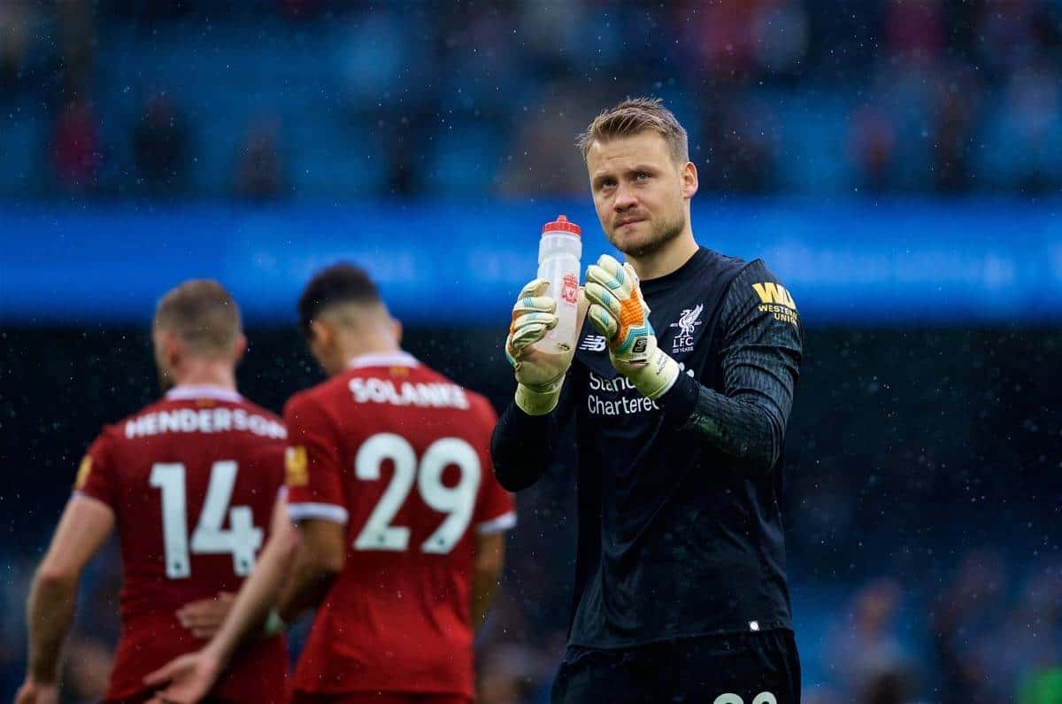 MANCHESTER, ENGLAND - Saturday, September 9, 2017: Liverpool's goalkeeper Simon Mignolet looks dejected after his side's 4-0 defeat during the FA Premier League match between Manchester City and Liverpool at the City of Manchester Stadium. (Pic by David Rawcliffe/Propaganda)
