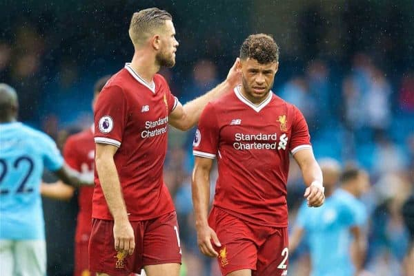 MANCHESTER, ENGLAND - Saturday, September 9, 2017: Liverpool's captain Jordan Henderson and Alex Oxlade-Chamberlain look dejected after their side's 4-0 defeat during the FA Premier League match between Manchester City and Liverpool at the City of Manchester Stadium. (Pic by David Rawcliffe/Propaganda)