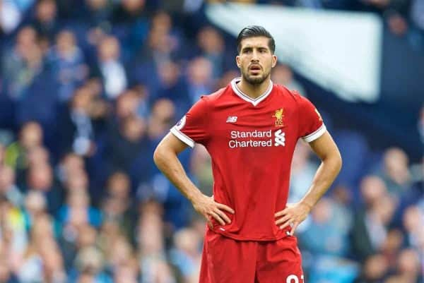 MANCHESTER, ENGLAND - Saturday, September 9, 2017: Liverpool's Emre Can looks dejected as his side lose 5-0 during the FA Premier League match between Manchester City and Liverpool at the City of Manchester Stadium. (Pic by David Rawcliffe/Propaganda)