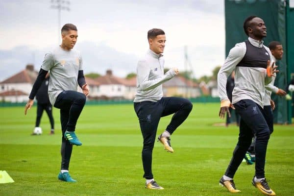 LIVERPOOL, ENGLAND - Tuesday, September 12, 2017: Liverpool's Roberto Firmino, Philippe Coutinho Correia and Sadio Mane during a training session at Melwood Training Ground ahead of the UEFA Champions League Group E match against Sevilla FC. (Pic by David Rawcliffe/Propaganda)