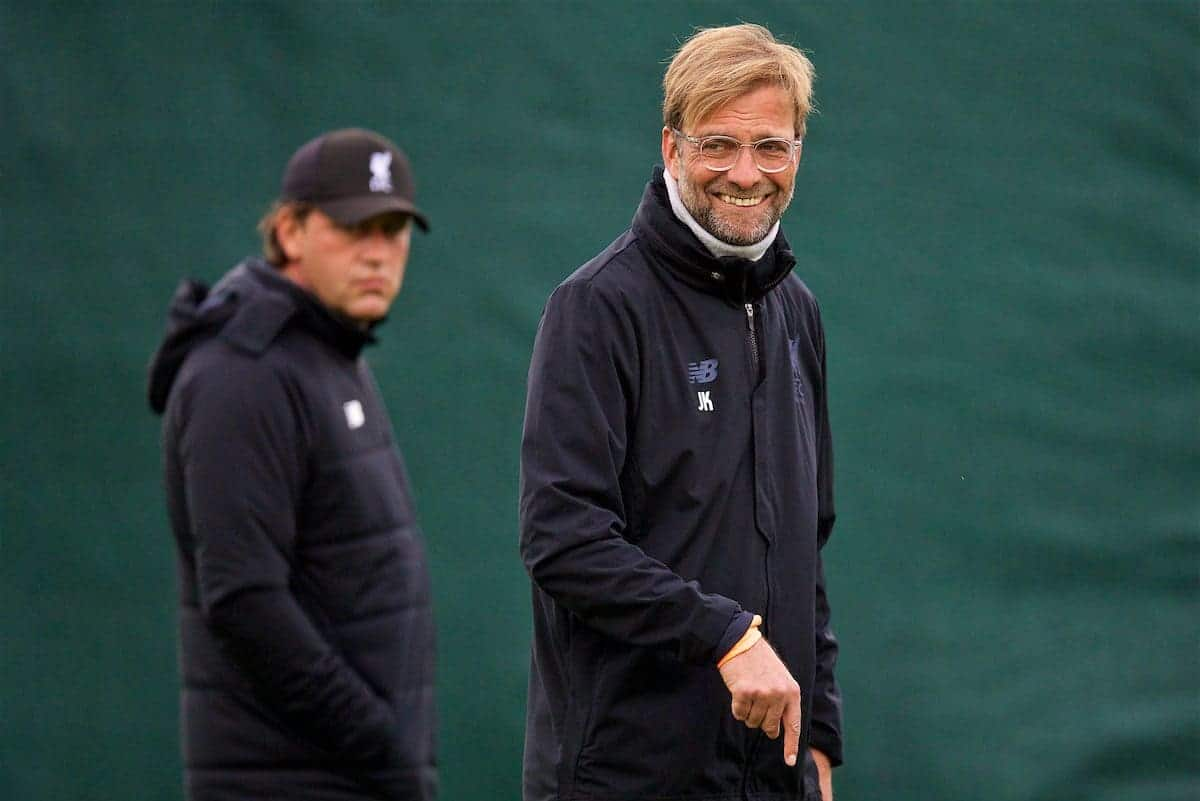 LIVERPOOL, ENGLAND - Tuesday, September 12, 2017: Liverpool's manager Jürgen Klopp during a training session at Melwood Training Ground ahead of the UEFA Champions League Group E match against Sevilla FC. (Pic by David Rawcliffe/Propaganda)