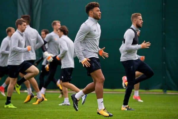 LIVERPOOL, ENGLAND - Tuesday, September 12, 2017: Liverpool's Alex Oxlade-Chamberlain during a training session at Melwood Training Ground ahead of the UEFA Champions League Group E match against Sevilla FC. (Pic by David Rawcliffe/Propaganda)