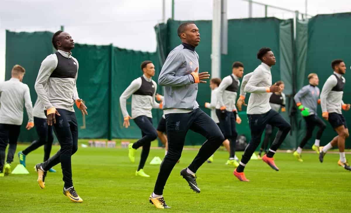 LIVERPOOL, ENGLAND - Tuesday, September 12, 2017: Liverpool's Daniel Sturridge during a training session at Melwood Training Ground ahead of the UEFA Champions League Group E match against Sevilla FC. (Pic by David Rawcliffe/Propaganda)