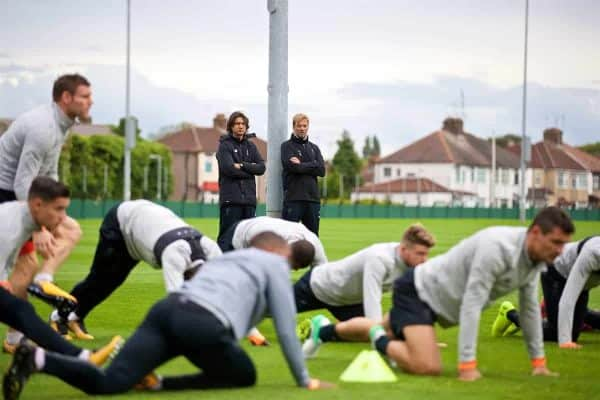 LIVERPOOL, ENGLAND - Tuesday, September 12, 2017: Liverpool's manager Jürgen Klopp and assistant manager Zeljko Buvac [L] during a training session at Melwood Training Ground ahead of the UEFA Champions League Group E match against Sevilla FC. (Pic by David Rawcliffe/Propaganda)