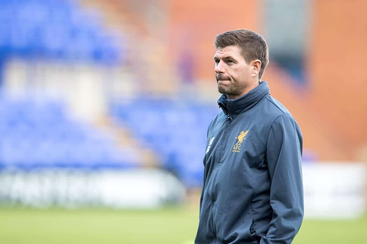 BIRKENHEAD, ENGLAND - Wednesday, September 13, 2017: Liverpool Under 18's manager Steven Gerrard on the pitch ahead of the UEFA Youth League Group E match between Liverpool and Sevilla at Prenton Park. (Pic by Paul Greenwood/Propaganda)