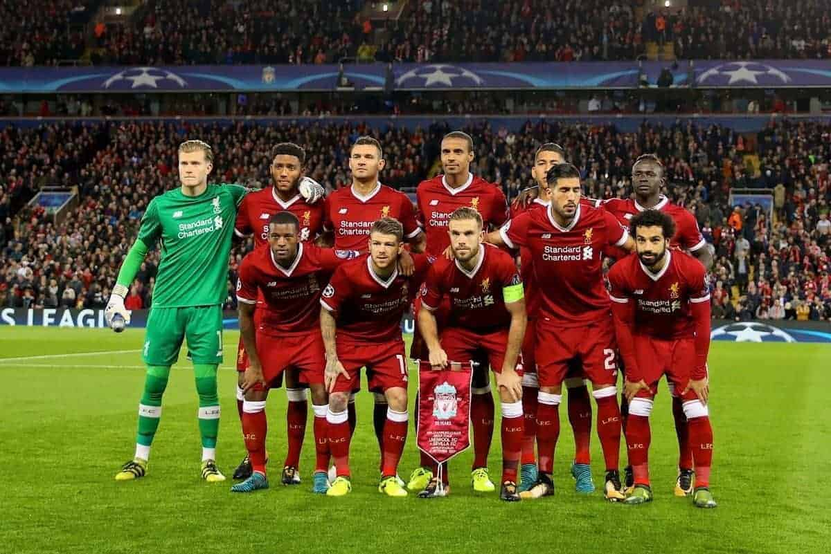 LIVERPOOL, ENGLAND - Wednesday, September 13, 2017: Liverpool's players line-up for a team group photograph before the UEFA Champions League Group E match between Liverpool and Sevilla at Anfield. Back row L-R: goalkeeper Loris Karius, Joe Gomez, Dejan Lovren, Joel Matip, Roberto Firmino, Sadio Mane. Front row L-R: Georginio Wijnaldum, Alberto Moreno, captain Jordan Henderson, Emre Can, Mohamed Salah. (Pic by David Rawcliffe/Propaganda)