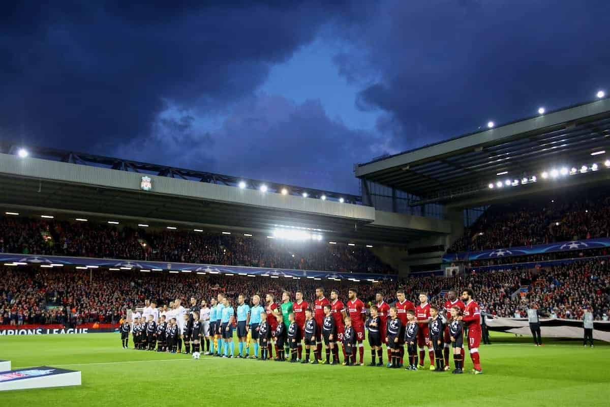 LIVERPOOL, ENGLAND - Wednesday, September 13, 2017: Liverpool and Sevilla players line-up before the UEFA Champions League Group E match between Liverpool and Sevilla at Anfield. (Pic by David Rawcliffe/Propaganda)