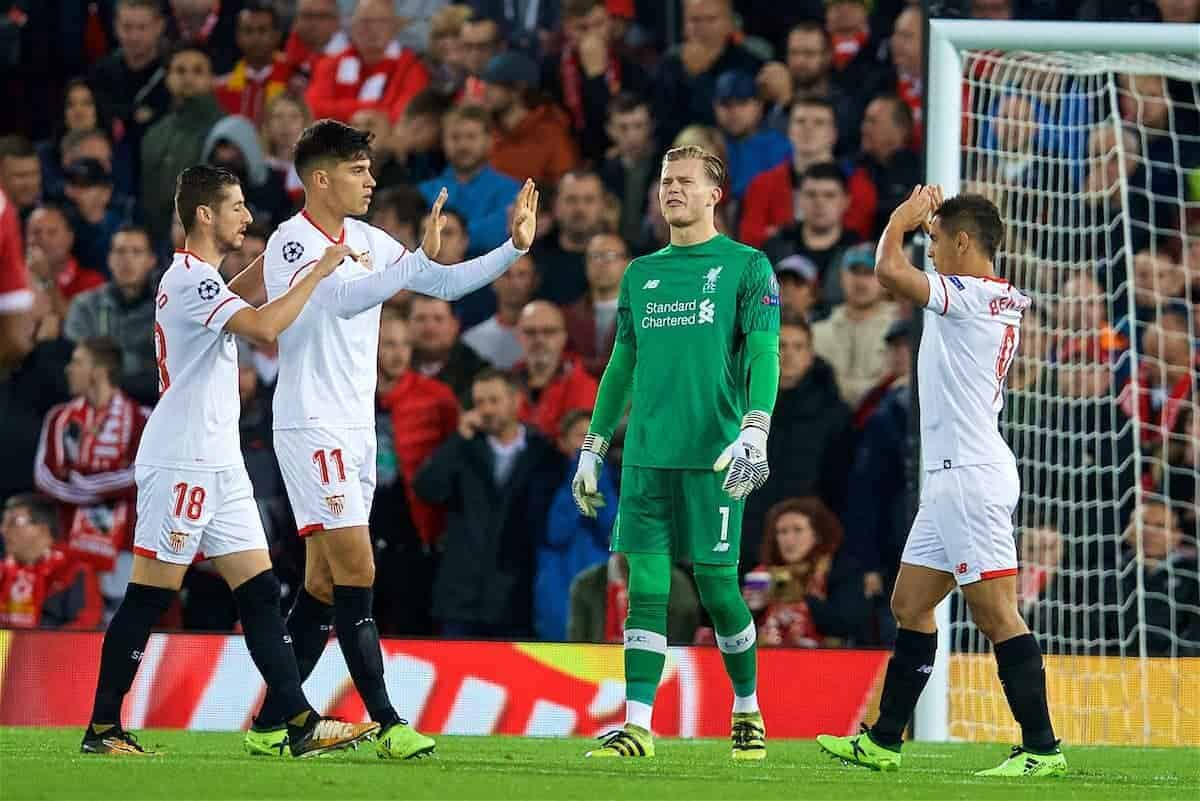 LIVERPOOL, ENGLAND - Wednesday, September 13, 2017: Liverpool's goalkeeper Loris Karius looks dejected as Sevilla score the opening goal during the UEFA Champions League Group E match between Liverpool and Sevilla at Anfield. (Pic by David Rawcliffe/Propaganda)