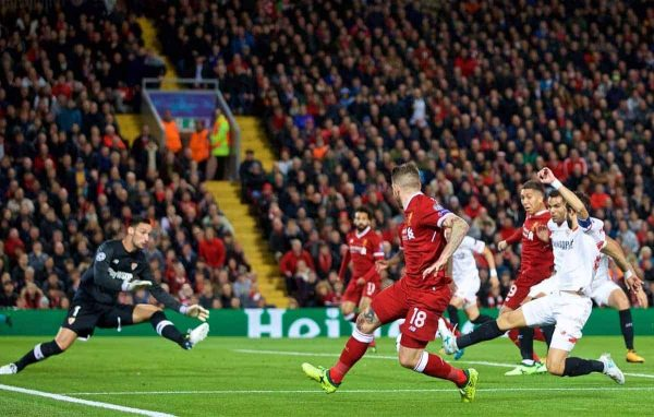 LIVERPOOL, ENGLAND - Wednesday, September 13, 2017: Liverpool's Alberto Moreno crosses to set-up Roberto Firmino to score the first equalising goal during the UEFA Champions League Group E match between Liverpool and Sevilla at Anfield. (Pic by David Rawcliffe/Propaganda)
