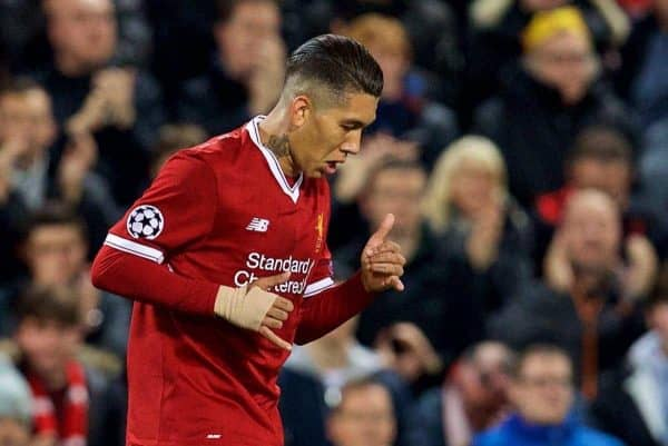 LIVERPOOL, ENGLAND - Wednesday, September 13, 2017: Liverpool's Roberto Firmino dances as he celebrates scoring the first equalising goal during the UEFA Champions League Group E match between Liverpool and Sevilla at Anfield. (Pic by David Rawcliffe/Propaganda)