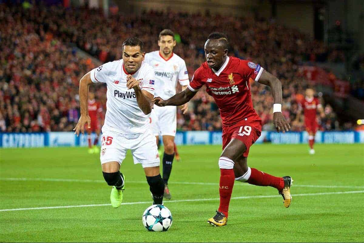 LIVERPOOL, ENGLAND - Wednesday, September 13, 2017: Liverpool's Sadio Mane and Sevilla's Gabriel Mercado during the UEFA Champions League Group E match between Liverpool and Sevilla at Anfield. (Pic by David Rawcliffe/Propaganda)