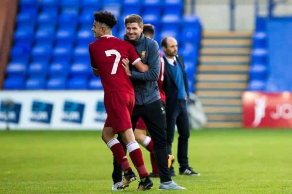BIRKENHEAD, ENGLAND - Wednesday, September 13, 2017: Liverpool Under 18's manager Steven Gerrard celebrates with Curtis Jones at the end of the UEFA Youth League Group E match between Liverpool and Sevilla at Prenton Park. (Pic by Paul Greenwood/Propaganda)
