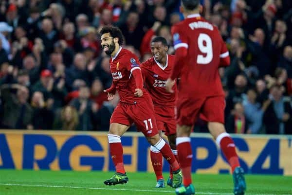 LIVERPOOL, ENGLAND - Wednesday, September 13, 2017: Liverpool's Mohamed Salah celebrates scoring the second goal during the UEFA Champions League Group E match between Liverpool and Sevilla at Anfield. (Pic by David Rawcliffe/Propaganda)
