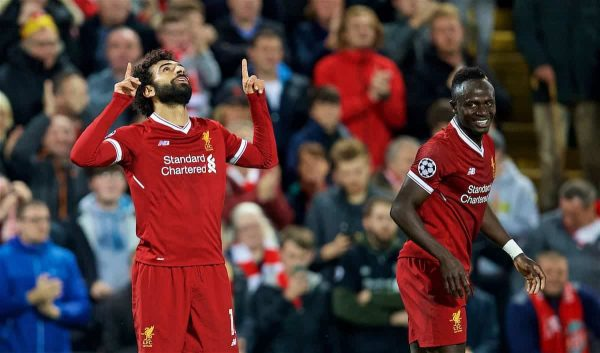 LIVERPOOL, ENGLAND - Wednesday, September 13, 2017: Liverpool's Mohamed Salah celebrates scoring the second goal, with team-mate Sadio Mane, during the UEFA Champions League Group E match between Liverpool and Sevilla at Anfield. (Pic by David Rawcliffe/Propaganda)