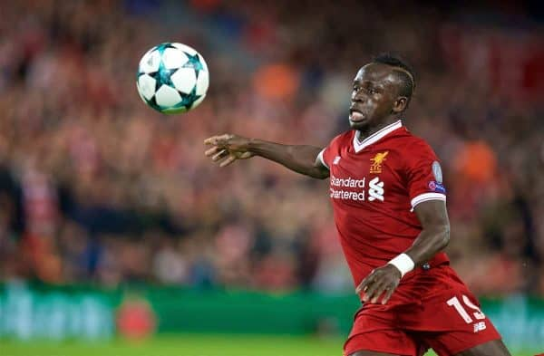 LIVERPOOL, ENGLAND - Wednesday, September 13, 2017: Liverpool's Sadio Mane during the UEFA Champions League Group E match between Liverpool and Sevilla at Anfield. (Pic by David Rawcliffe/Propaganda)
