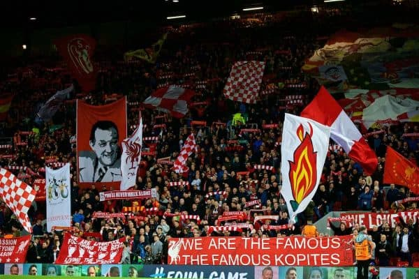 LIVERPOOL, ENGLAND - Wednesday, September 13, 2017: Liverpool's supporters on the Spion Kop before the UEFA Champions League Group E match between Liverpool and Sevilla at Anfield. (Pic by David Rawcliffe/Propaganda)