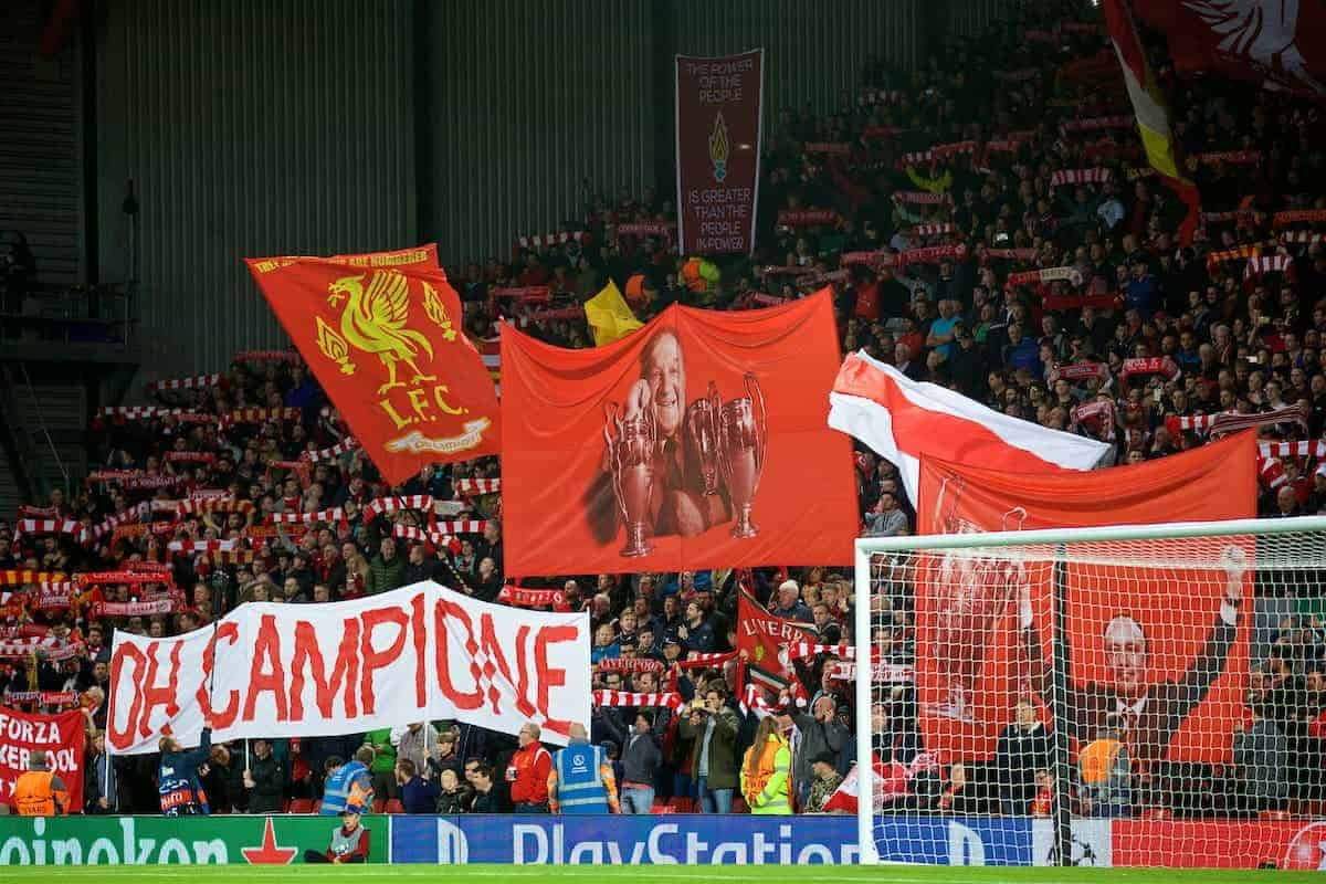 LIVERPOOL, ENGLAND - Wednesday, September 13, 2017: Liverpool's supporters on the Spion Kop, with a banner featuring former manager Bob Paisley who won three European Cups, before the UEFA Champions League Group E match between Liverpool and Sevilla at Anfield. (Pic by David Rawcliffe/Propaganda)