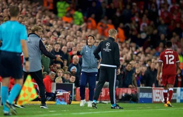 LIVERPOOL, ENGLAND - Wednesday, September 13, 2017: Sevilla's head coach Eduardo Berizzo protests after throwing the ball away during the UEFA Champions League Group E match between Liverpool and Sevilla at Anfield. (Pic by David Rawcliffe/Propaganda)