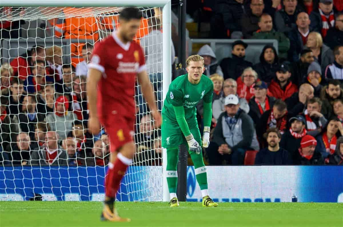 LIVERPOOL, ENGLAND - Wednesday, September 13, 2017: Liverpool's goalkeeper Loris Karius looks dejected as Sevilla score a second equalising goal during the UEFA Champions League Group E match between Liverpool and Sevilla at Anfield. (Pic by David Rawcliffe/Propaganda)