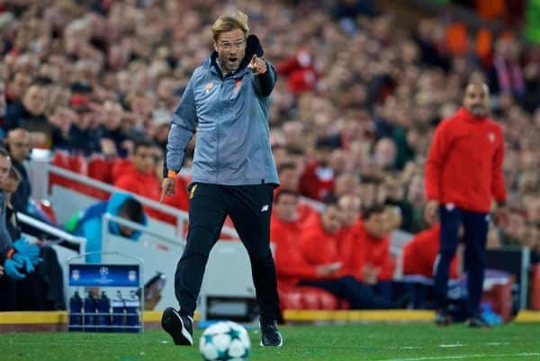 LIVERPOOL, ENGLAND - Wednesday, September 13, 2017: Liverpool's manager Jürgen Klopp reacts during the UEFA Champions League Group E match between Liverpool and Sevilla at Anfield. (Pic by David Rawcliffe/Propaganda)