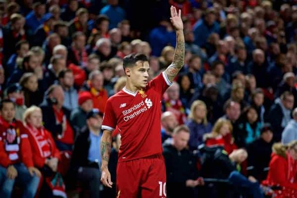 LIVERPOOL, ENGLAND - Wednesday, September 13, 2017: Liverpool's Philippe Coutinho Correia during the UEFA Champions League Group E match between Liverpool and Sevilla at Anfield. (Pic by David Rawcliffe/Propaganda)