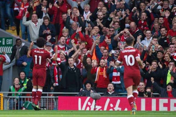 LIVERPOOL, ENGLAND - Saturday, September 16, 2017: Liverpoolís Mohamed Salah celebrates scoring the second goal and making the score 1-1 during the FA Premier League match between Liverpool and Burnley at Anfield. (Pic by Peter Powell/Propaganda)