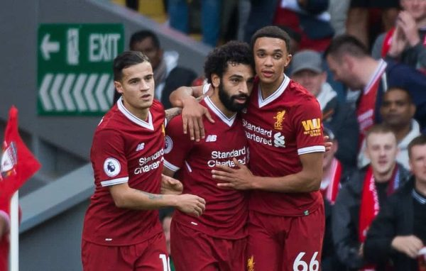 LIVERPOOL, ENGLAND - Saturday, September 16, 2017: Liverpoolís Mohamed Salah (C) is congratulated by Philippe Coutinho (L) and Trent Alexander-Arnold (R) after scoring the second goal during the FA Premier League match between Liverpool and Burnley at Anfield. (Pic by Peter Powell/Propaganda)