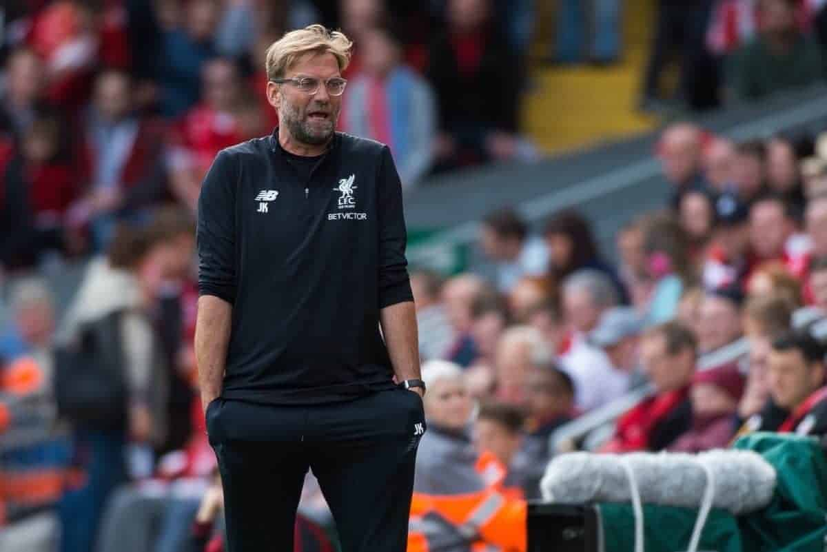 LIVERPOOL, ENGLAND - Saturday, September 16, 2017:Liverpool's Jurgen Klopp reacts after the FA Premier League match between Liverpool and Burnley at Anfield. (Pic by Peter Powell/Propaganda)