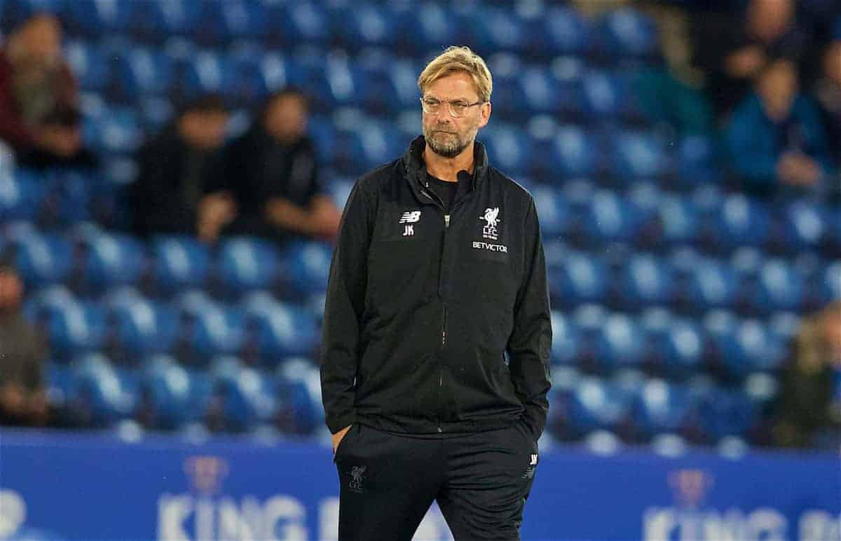 LEICESTER, ENGLAND - Saturday, September 23, 2017: Liverpool's manager Jürgen Klopp before the Football League Cup 3rd Round match between Leicester City and Liverpool at the King Power Stadium. (Pic by David Rawcliffe/Propaganda)