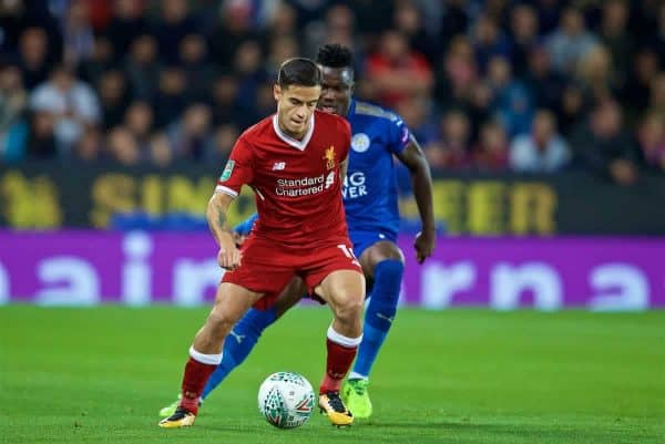LEICESTER, ENGLAND - Saturday, September 23, 2017: Liverpool's Philippe Coutinho Correia during the Football League Cup 3rd Round match between Leicester City and Liverpool at the King Power Stadium. (Pic by David Rawcliffe/Propaganda)