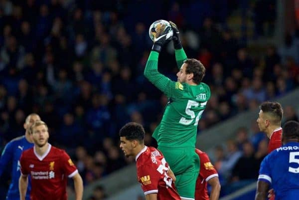 LEICESTER, ENGLAND - Saturday, September 23, 2017: Liverpool's goalkeeper Danny Ward during the Football League Cup 3rd Round match between Leicester City and Liverpool at the King Power Stadium. (Pic by David Rawcliffe/Propaganda)