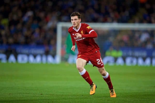 LEICESTER, ENGLAND - Saturday, September 23, 2017: Liverpool's Andy Robertson during the Football League Cup 3rd Round match between Leicester City and Liverpool at the King Power Stadium. (Pic by David Rawcliffe/Propaganda)