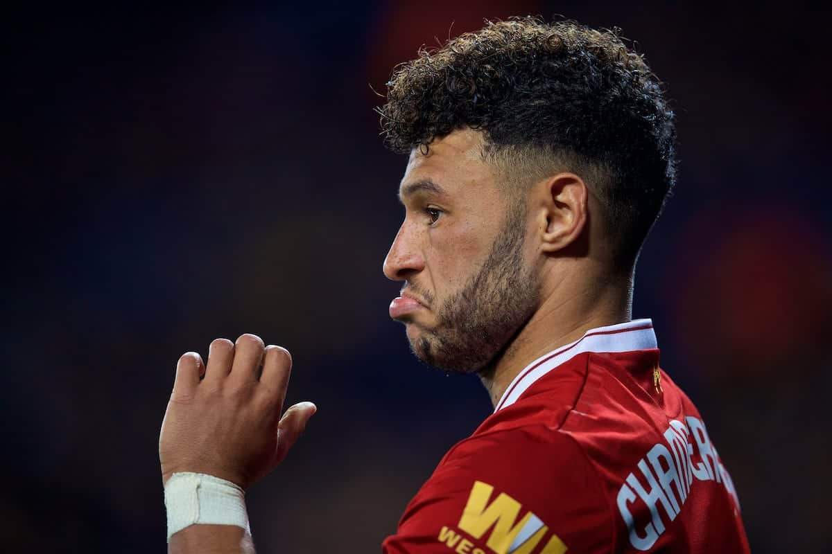 LEICESTER, ENGLAND - Saturday, September 23, 2017: Liverpool's Alex Oxlade-Chamberlain during the Football League Cup 3rd Round match between Leicester City and Liverpool at the King Power Stadium. (Pic by David Rawcliffe/Propaganda)