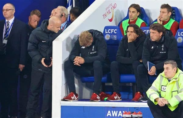 LEICESTER, ENGLAND - Saturday, September 23, 2017: Liverpool's manager Jürgen Klopp argues with the fourth official during the Football League Cup 3rd Round match between Leicester City and Liverpool at the King Power Stadium. (Pic by David Rawcliffe/Propaganda)