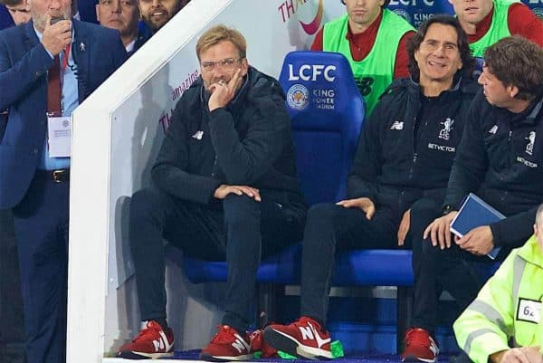 LEICESTER, ENGLAND - Saturday, September 23, 2017: Liverpool's manager Jürgen Klopp looks dejected as his side lose 2-0 during the Football League Cup 3rd Round match between Leicester City and Liverpool at the King Power Stadium. (Pic by David Rawcliffe/Propaganda)