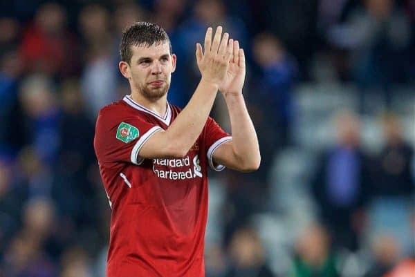 LEICESTER, ENGLAND - Saturday, September 23, 2017: Liverpool's Jon Flanagan looks dejected as his side lose 2-0 during the Football League Cup 3rd Round match between Leicester City and Liverpool at the King Power Stadium. (Pic by David Rawcliffe/Propaganda)