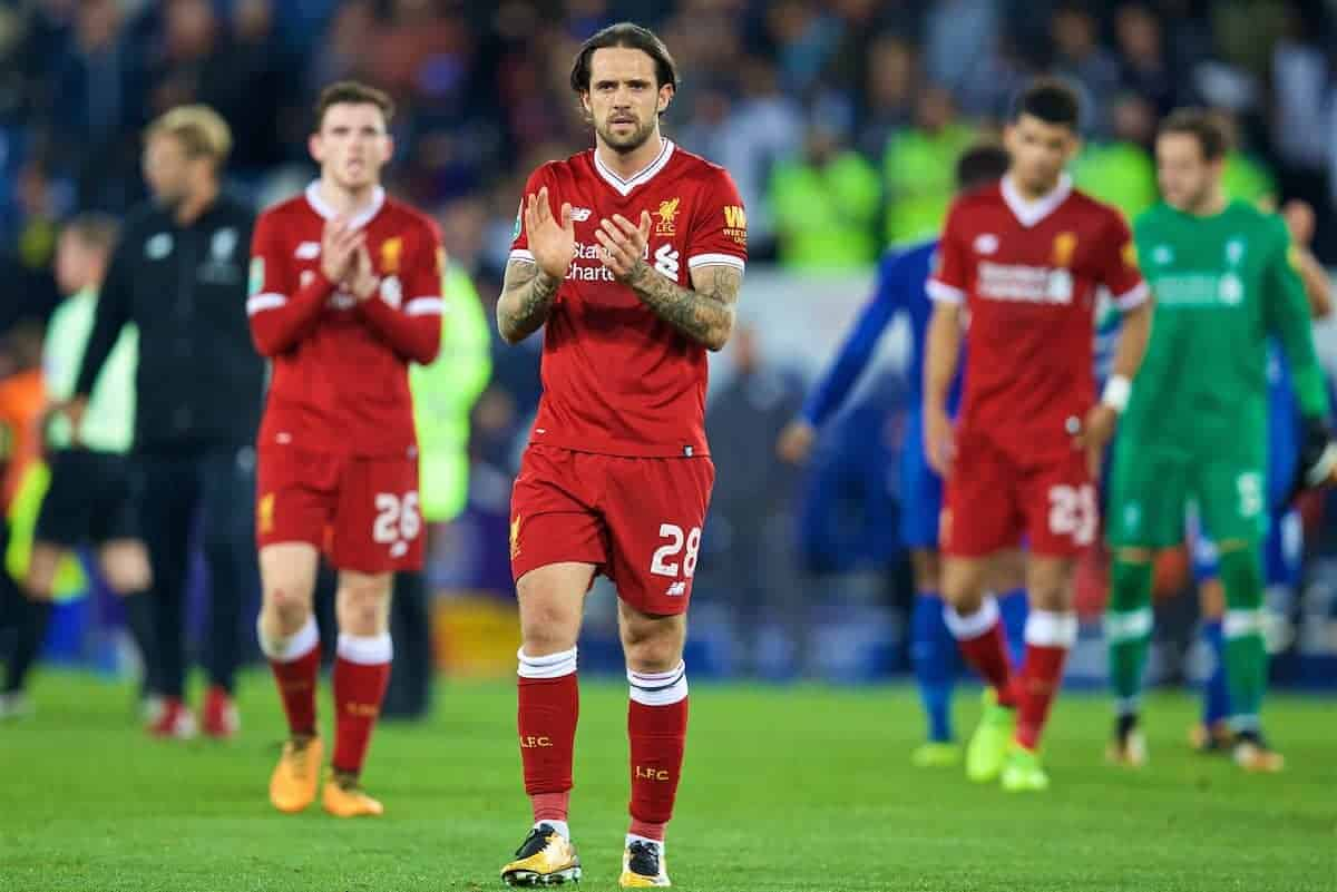 LEICESTER, ENGLAND - Saturday, September 23, 2017: Liverpool's Danny Ings looks dejected as his side lose 2-0 during the Football League Cup 3rd Round match between Leicester City and Liverpool at the King Power Stadium. (Pic by David Rawcliffe/Propaganda)