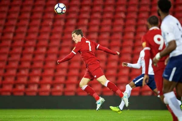 LIVERPOOL, ENGLAND - Friday, September 22, 2017: Liverpool's Harry Wilson scores the first goal during the Under-23 FA Premier League 2 Division 1 match between Liverpool and Tottenham Hotspur at Anfield. (Pic by David Rawcliffe/Propaganda)