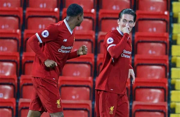 LIVERPOOL, ENGLAND - Friday, September 22, 2017: Liverpool's Harry Wilson celebrates scoring the first goal during the Under-23 FA Premier League 2 Division 1 match between Liverpool and Tottenham Hotspur at Anfield. (Pic by David Rawcliffe/Propaganda)