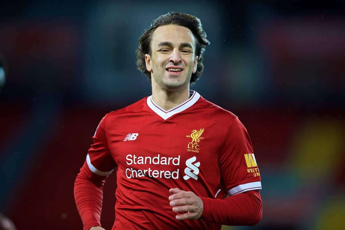 LIVERPOOL, ENGLAND - Friday, September 22, 2017: Liverpool's Lazar Markovic during the Under-23 FA Premier League 2 Division 1 match between Liverpool and Tottenham Hotspur at Anfield. (Pic by David Rawcliffe/Propaganda)