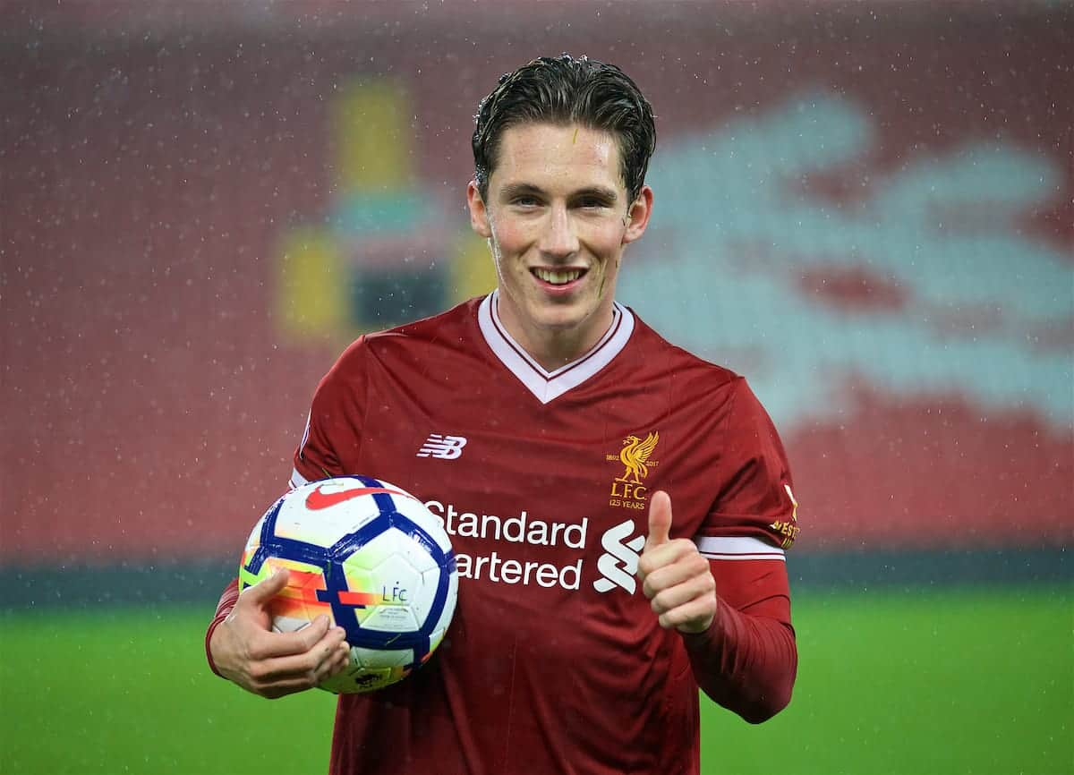 LIVERPOOL, ENGLAND - Friday, September 22, 2017: Liverpool's hat-trick hero Harry Wilson with the match-ball after his three first half goals helped seal a 4-2 victory over Tottenham Hotspur during the Under-23 FA Premier League 2 Division 1 match between Liverpool and Tottenham Hotspur at Anfield. (Pic by David Rawcliffe/Propaganda)