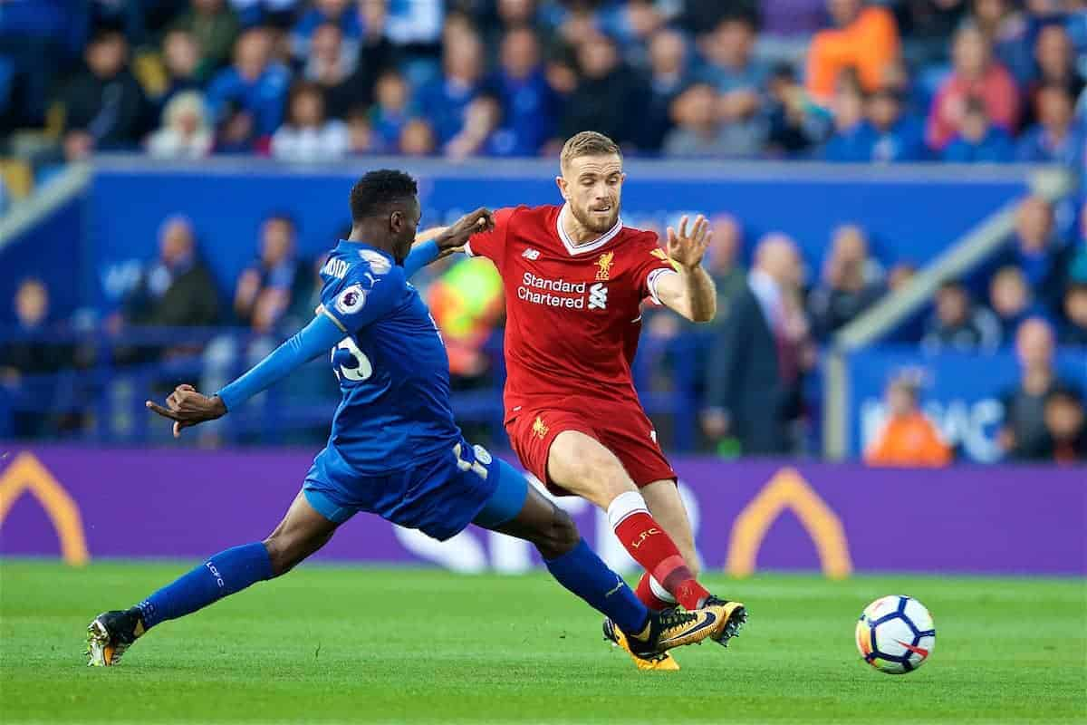 LEICESTER, ENGLAND - Saturday, September 23, 2017: Liverpool's captain Jordan Henderson during the FA Premier League match between Leicester City and Liverpool at the King Power Stadium. (Pic by David Rawcliffe/Propaganda)