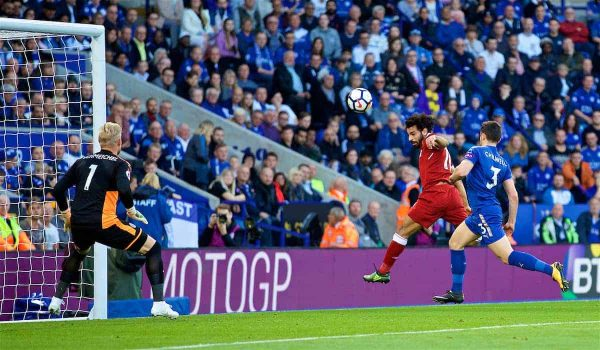 LEICESTER, ENGLAND - Saturday, September 23, 2017: Liverpool's Mohamed Salah scores the first goal during the FA Premier League match between Leicester City and Liverpool at the King Power Stadium. (Pic by David Rawcliffe/Propaganda)