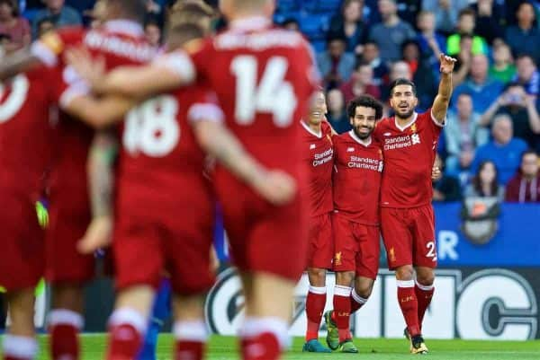 LEICESTER, ENGLAND - Saturday, September 23, 2017: Liverpool's Mohamed Salah celebrates scoring the first goal during the FA Premier League match between Leicester City and Liverpool at the King Power Stadium. (Pic by David Rawcliffe/Propaganda)