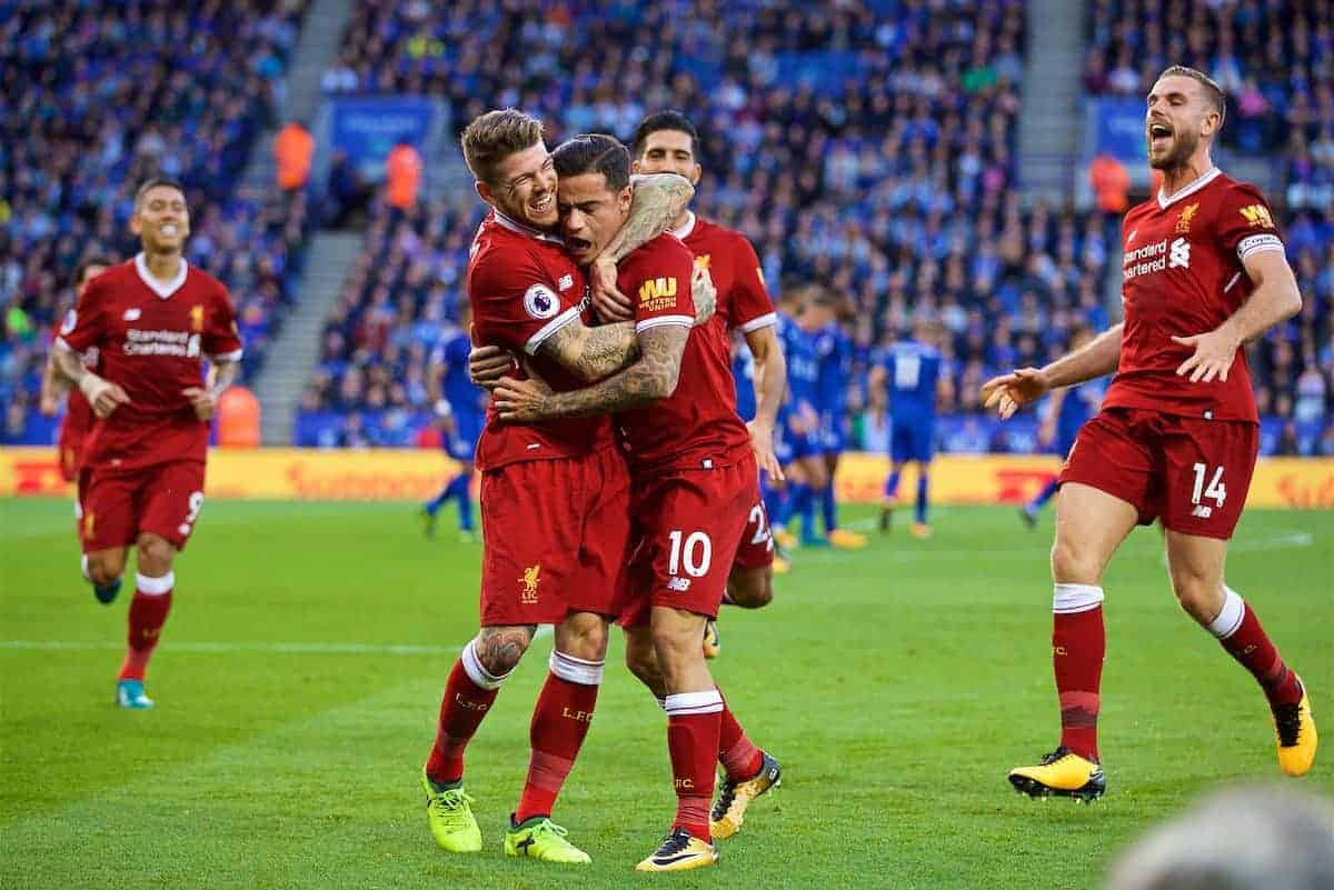 LEICESTER, ENGLAND - Saturday, September 23, 2017: Liverpool's Philippe Coutinho Correia celebrates scoring the second goal with team-mate Alberto Moreno during the FA Premier League match between Leicester City and Liverpool at the King Power Stadium. (Pic by David Rawcliffe/Propaganda)