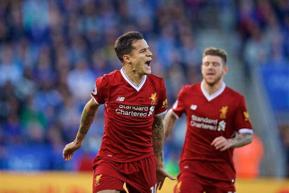 LEICESTER, ENGLAND - Saturday, September 23, 2017: Liverpool's Philippe Coutinho Correia celebrates scoring the second goal during the FA Premier League match between Leicester City and Liverpool at the King Power Stadium. (Pic by David Rawcliffe/Propaganda)
