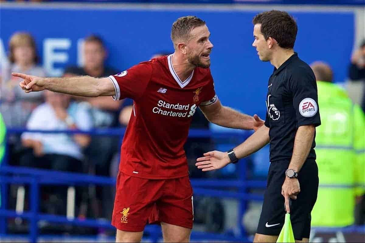 LEICESTER, ENGLAND - Saturday, September 23, 2017: Liverpool's captain Jordan Henderson complains to the assistant referee after Leicester City score an injury time goal in the first half during the FA Premier League match between Leicester City and Liverpool at the King Power Stadium. (Pic by David Rawcliffe/Propaganda)